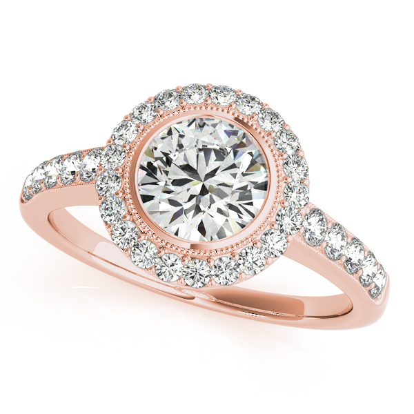 18K Rose Gold Round Halo Engagement Ring by Overnight