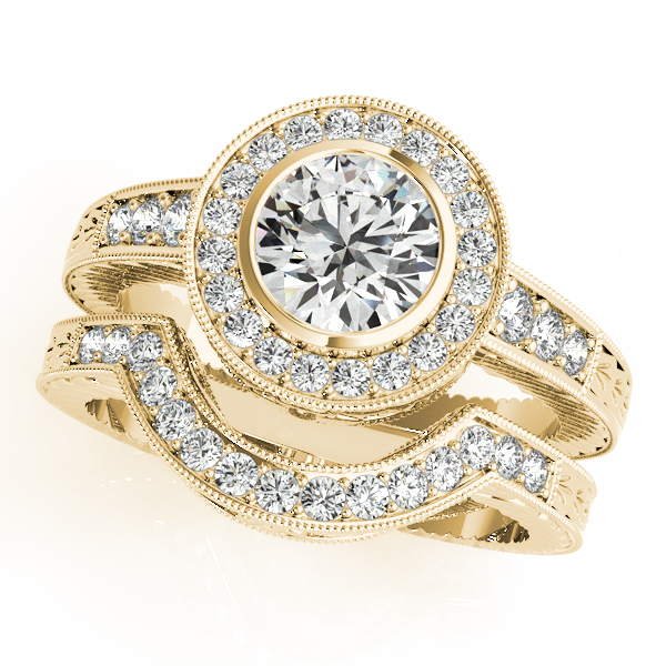 Engagement Rings - 18K Yellow Gold Round Halo Engagement Ring - image #3