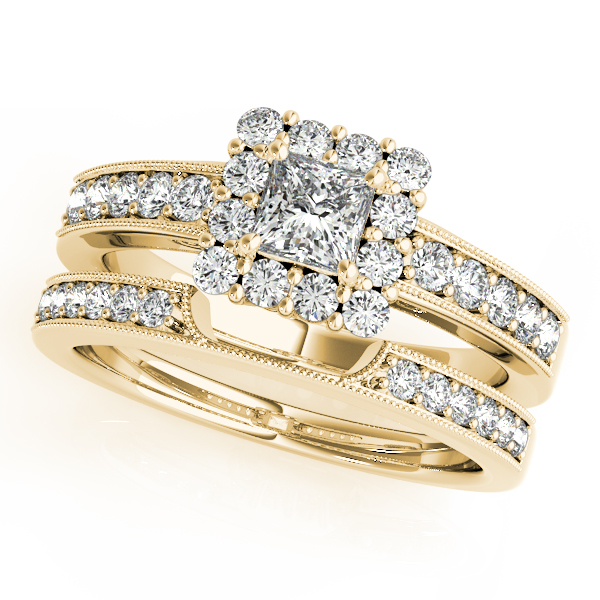 Engagement Rings - 14K Yellow Gold Halo Engagement Ring - image 3