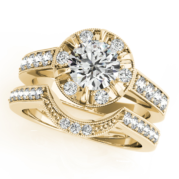 Engagement Rings - 14K Yellow Gold Round Halo Engagement Ring - image 3