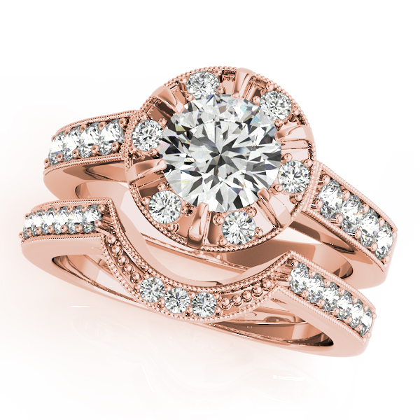 Engagement Rings - 14K Rose Gold Round Halo Engagement Ring - image #3