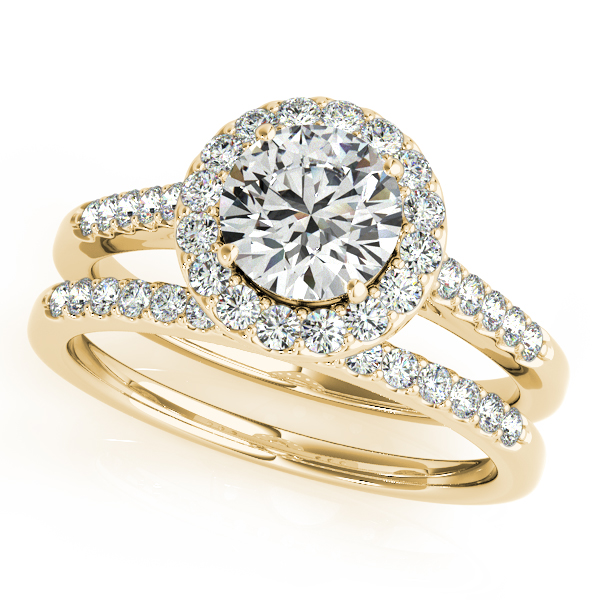 Engagement Rings - 14K Yellow Gold Round Halo Engagement Ring - image #3