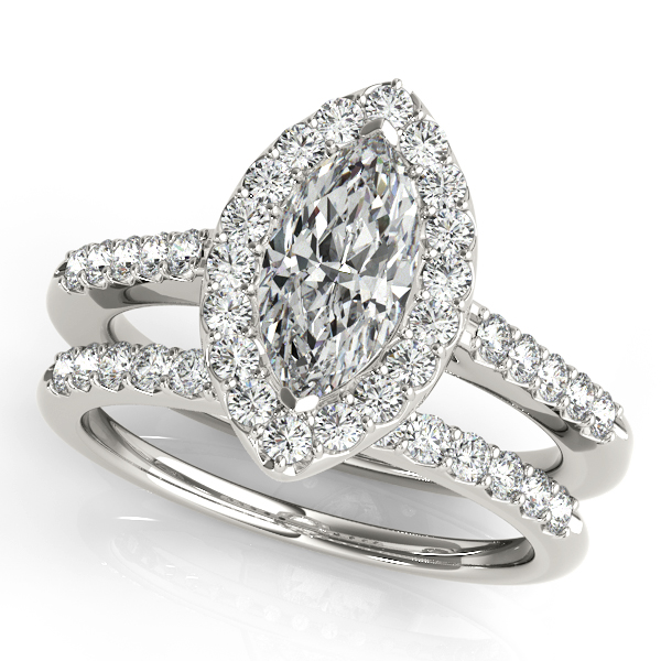 Engagement Rings - 14K White Gold Halo Engagement Ring - image #3