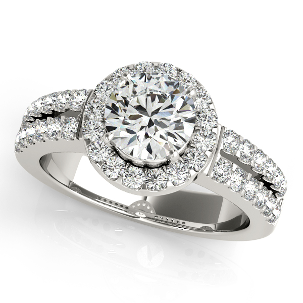 Diamond Engagement Rings - 14K White Gold Round Halo Engagement Ring