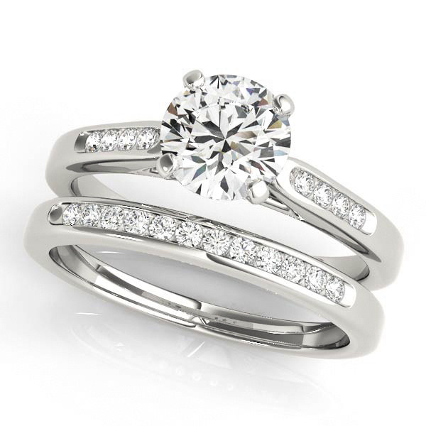 Engagement Rings - Platinum Single Row Channel Engagement Ring - image #3