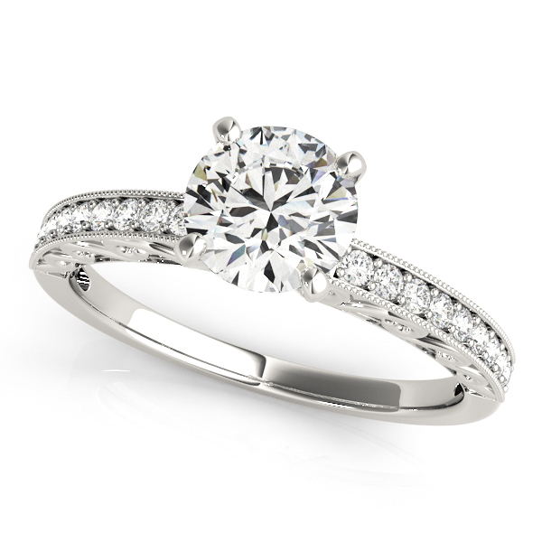 14K White Gold Antique Engagement Ring by Overnight