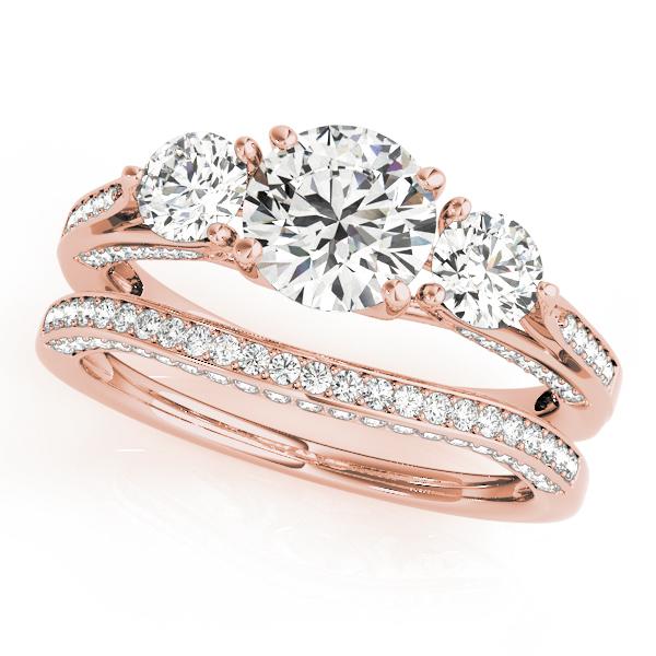 10k Rose Gold Three Stone Round Engagement Ring 50477 E 10kr