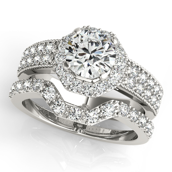 Engagement Rings - 10K White Gold Round Halo Engagement Ring - image #3