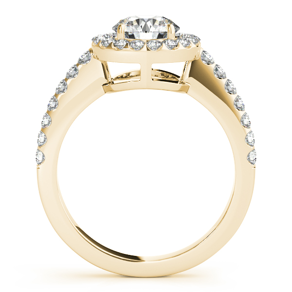 Engagement Rings - 18K Yellow Gold Round Halo Engagement Ring - image #2