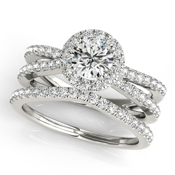 Engagement Rings - 14K White Gold Round Halo Engagement Ring - image 3