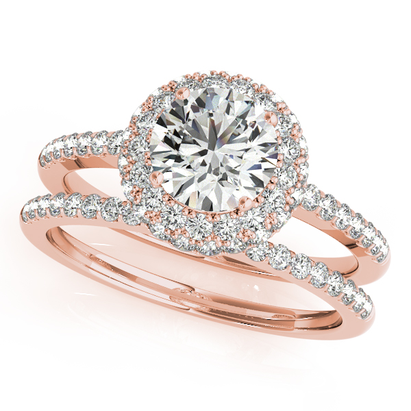 Engagement Rings - 10K Rose Gold Round Halo Engagement Ring - image #3