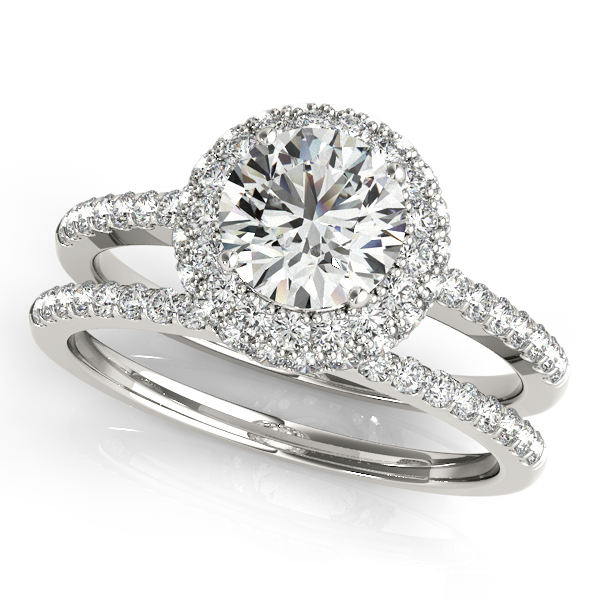 Engagement Rings - Platinum Round Halo Engagement Ring - image #3