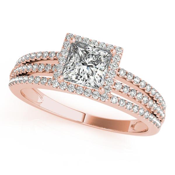 10k Rose Gold Halo Engagement Ring 50375 E 10x5 10kr Engagement