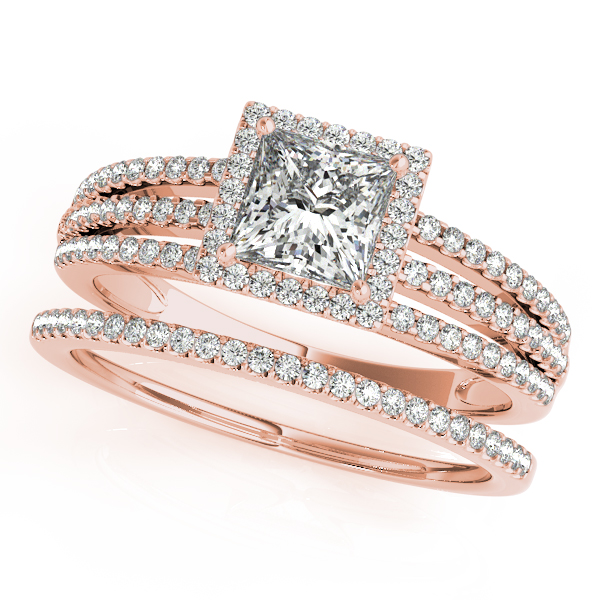 Engagement Rings - 10K Rose Gold Halo Engagement Ring - image 3