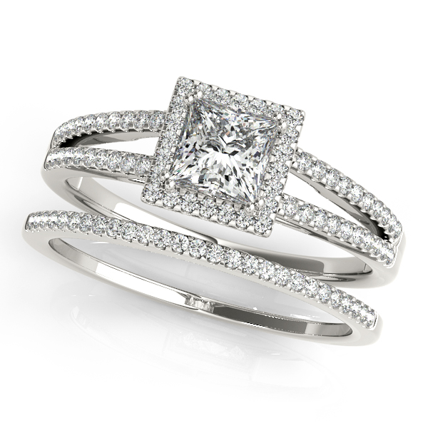 Engagement Rings - 14K White Gold Halo Engagement Ring - image 3