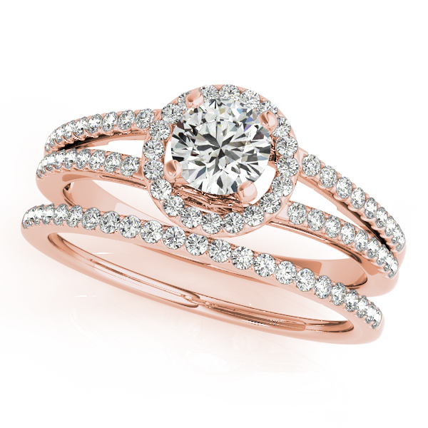 Engagement Rings - 10K Rose Gold Round Halo Engagement Ring - image 3