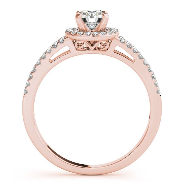 Engagement Rings - 10K Rose Gold Round Halo Engagement Ring - image #2