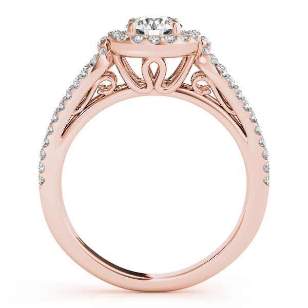 Engagement Rings - 10K Rose Gold Round Halo Engagement Ring - image 2