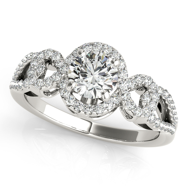 Engagement Rings - 14K White Gold Round Halo Engagement Ring