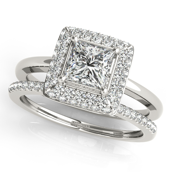 Engagement Rings - 18K White Gold Halo Engagement Ring - image #3