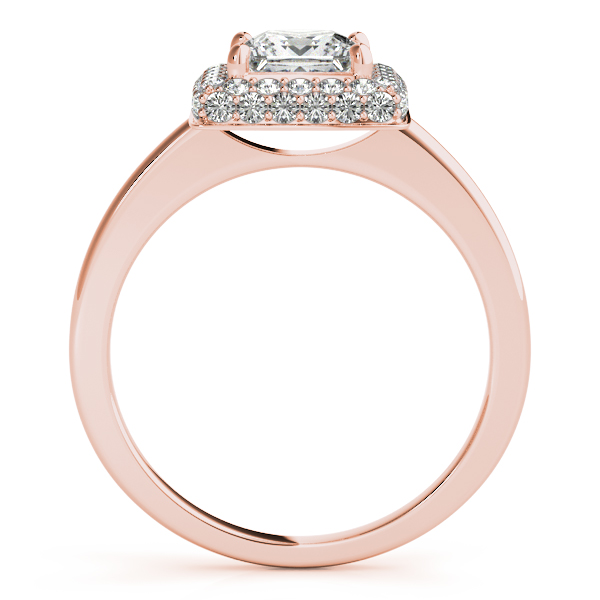 Engagement Rings - 10K Rose Gold Halo Engagement Ring - image #2
