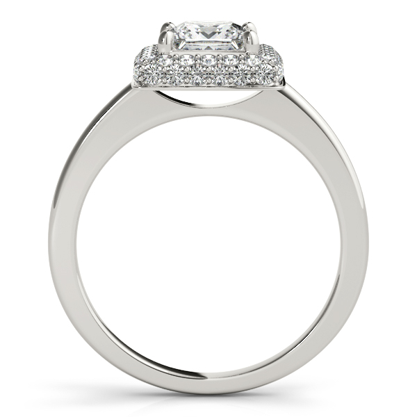 Engagement Rings - 18K White Gold Halo Engagement Ring - image 2