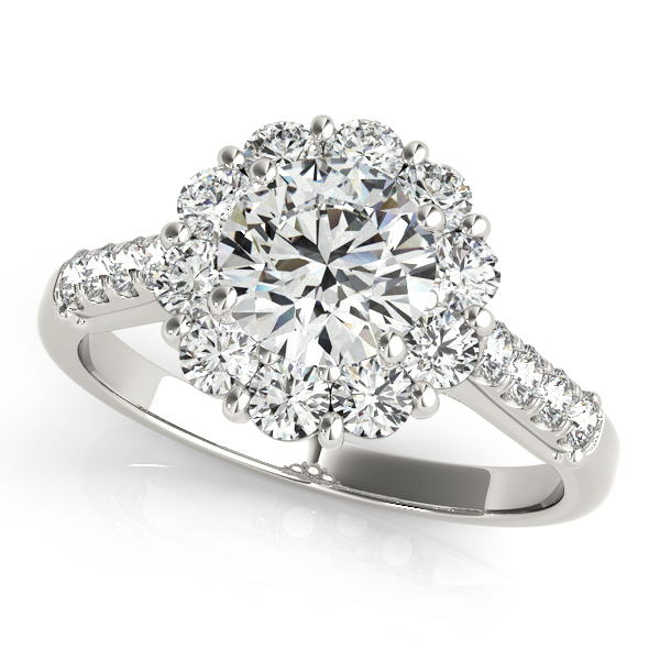 14K White Gold Round Halo Engagement Ring by Overnight
