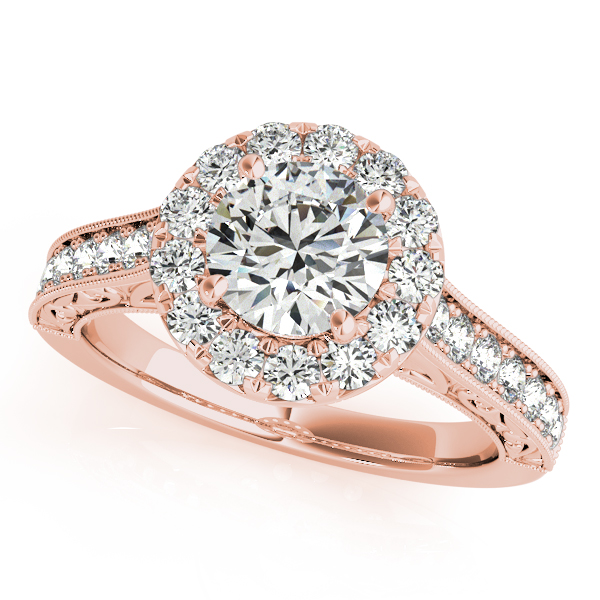 Engagement Rings 14k Rose Gold Engraved Diamond Halo Ring
