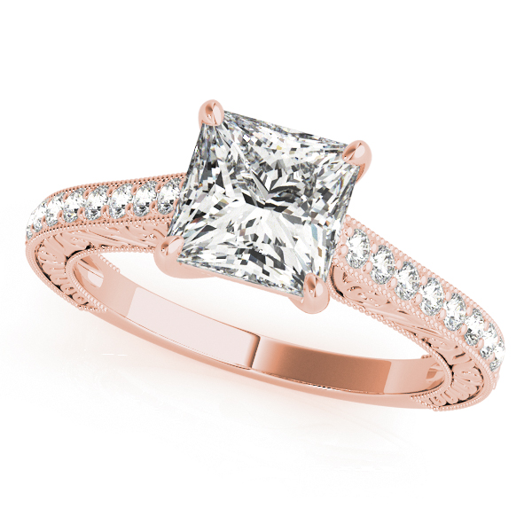 10K Rose Gold Trellis Engagement Ring by Overnight