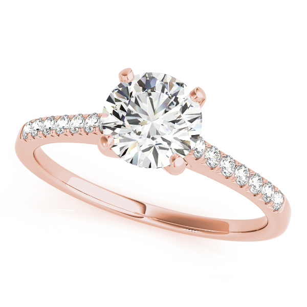 10K Rose Gold Single Row Prong Engagement Ring by Overnight