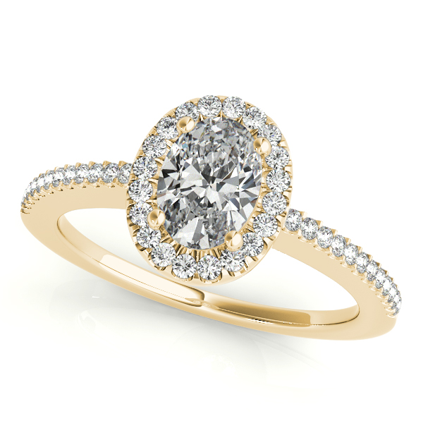 Engagement Rings - 10K Yellow Gold Oval Halo Engagement Ring