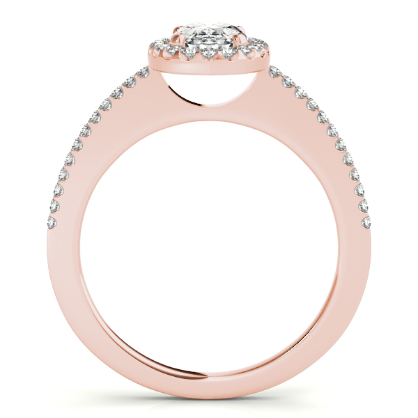 Engagement Rings - 10K Rose Gold Oval Halo Engagement Ring - image #2