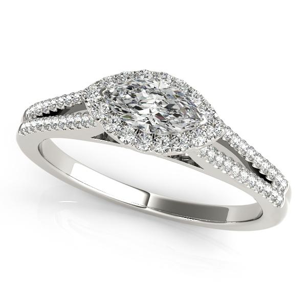 Engagement Rings - 10K White Gold Halo Engagement Ring