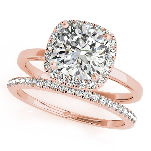 Engagement Rings - 18K Rose Gold Halo Engagement Ring - image #3