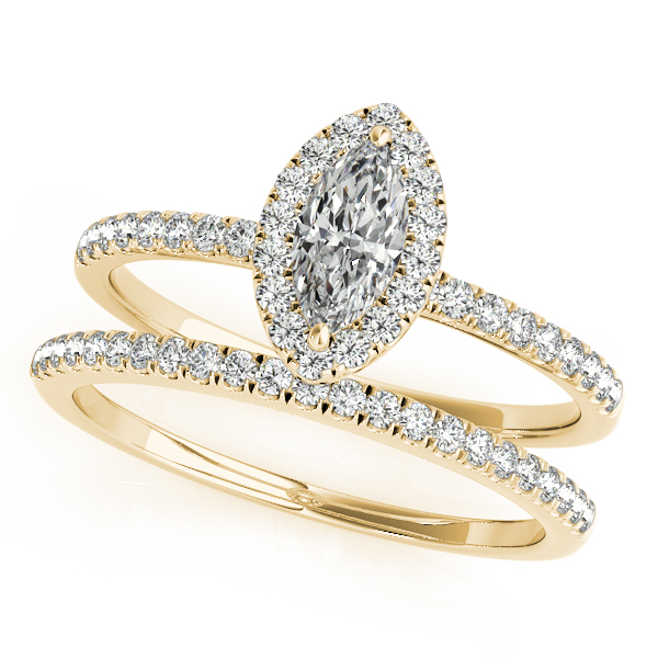 Engagement Rings - 14K Yellow Gold Halo Engagement Ring - image #3