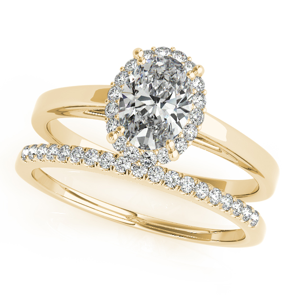 Engagement Rings - 18K Yellow Gold Oval Halo Engagement Ring - image #3