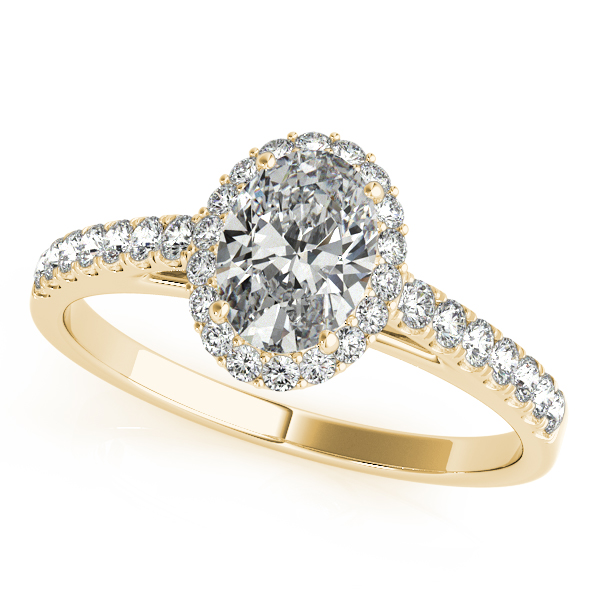 Oval Yellow Gold Enement Rings   18k Yellow Gold Oval Halo Engagement Ring 50917 E 10x8 18ky