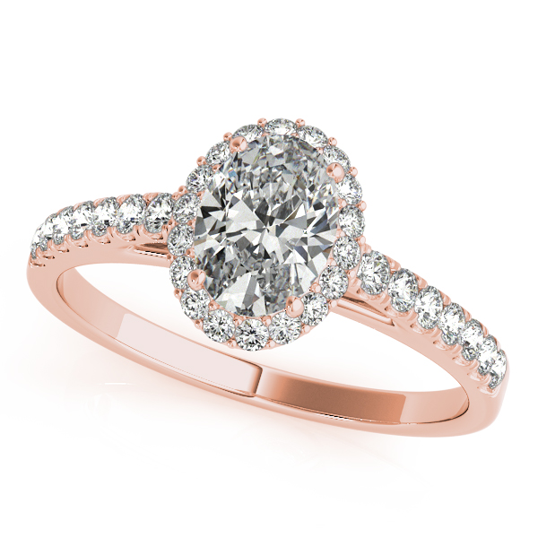 18k Rose Gold Oval Halo Engagement Ring 50917 E 6x4 18kr