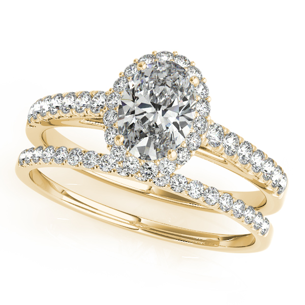 Engagement Rings - 10K Yellow Gold Oval Halo Engagement Ring - image #3