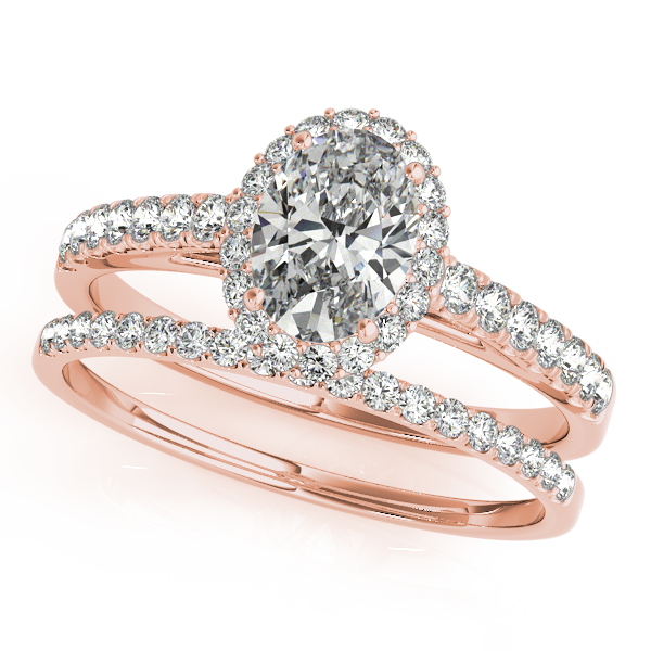Engagement Rings - 10K Rose Gold Oval Halo Engagement Ring - image 3