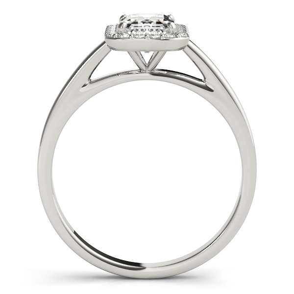 Engagement Rings - 10K White Gold Emerald Halo Engagement Ring - image #2