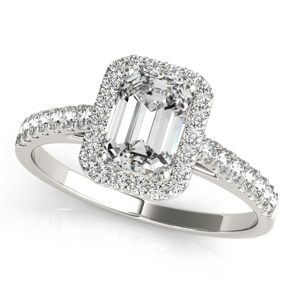 Engagement Rings - Platinum Emerald Halo Engagement Ring