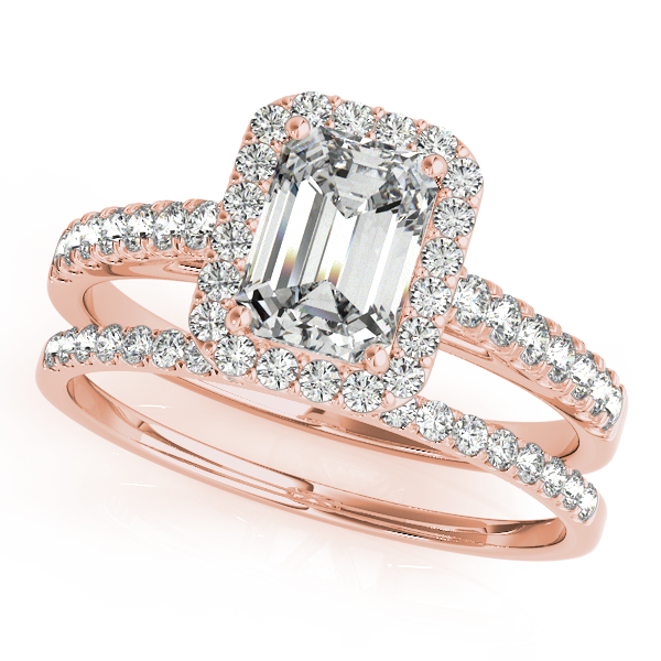Engagement Rings - 14K Rose Gold Emerald Halo Engagement Ring - image #3