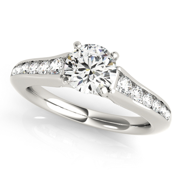 10K White Gold Single Row Engagement Ring by Overnight