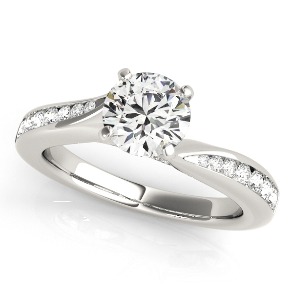 10K White Gold Single Row Engagement Ring PRONG by Overnight