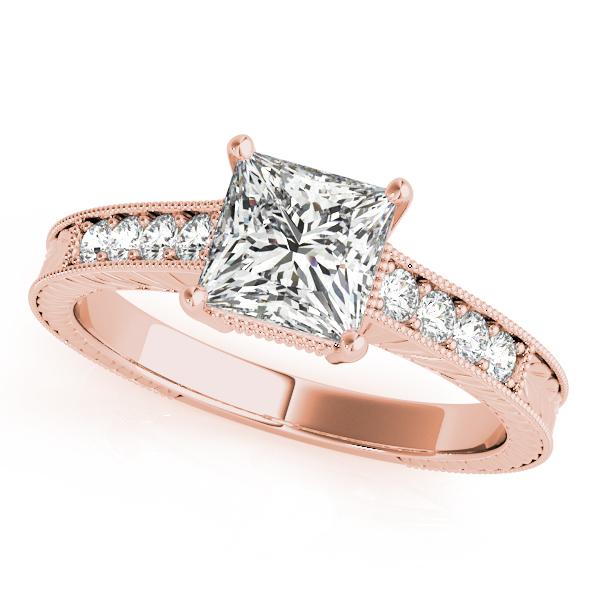 18k Rose Gold Antique Engagement Ring 82856 B 18kr Diamond