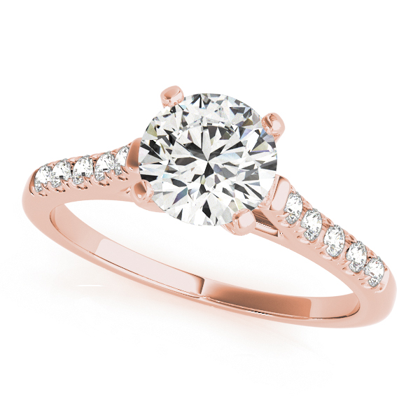 10K Rose Gold Single Row Prong Engagement Ring - This 10K rose gold single row prong engagement ring can accommodate a round diamond shape between 0.25 and 3.00 carats. Includes 10 diamonds weighing 0.15 carats total. Available in 10K, 14K, and 18K white, yellow, or rose gold, and platinum. Center diamond not included. Matching wedding band sold separately.