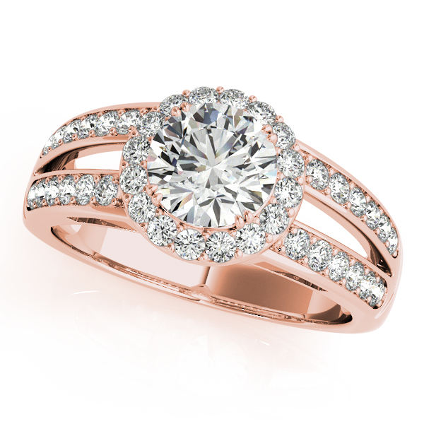 10K Rose Gold Round Halo Engagement Ring - This 10K rose gold round halo engagement ring can accommodate a round diamond shape of 1.00 carats. Includes 40 diamonds weighing 0.50 carats total. Available in 10K, 14K, and 18K white, yellow, or rose gold, and platinum. Center diamond not included. Matching wedding band sold separately.