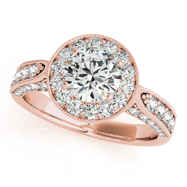 10K Rose Gold Round Halo Engagement Ring - This 10K rose gold round halo engagement ring can accommodate a round diamond shape of 1.00 carats. Includes 46 diamonds weighing 0.77 carats total. Available in 10K, 14K, and 18K white, yellow, or rose gold, and platinum. Center diamond not included. Matching wedding band sold separately.