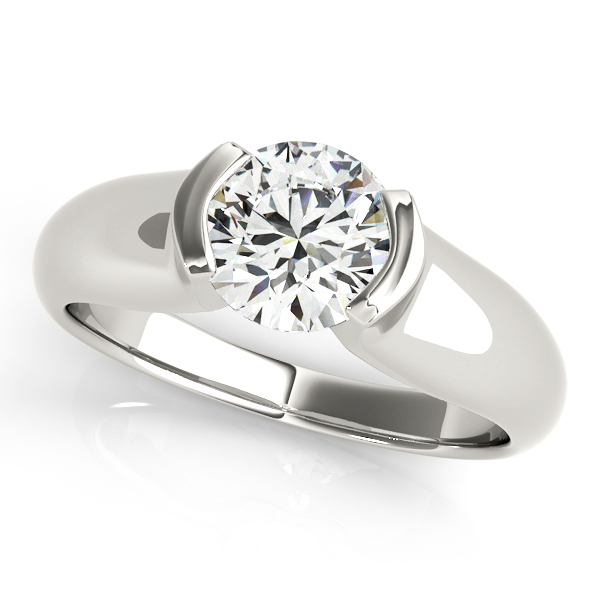 Diamond Engagement Rings - 14K White Gold Round Solitaire Engagement Ring